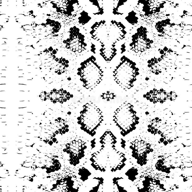 Bezszwowa deseniowa wąż skóry tekstura Czerń na białym tle wektor royalty ilustracja