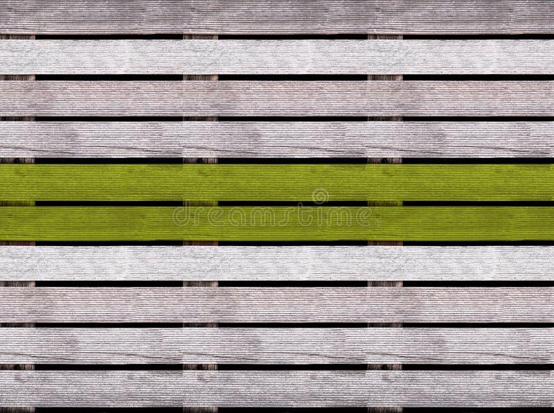 Bezszwowa drewniana tekstura podłoga lub bruk z zieloną liną, drewniany barłóg zdjęcia stock