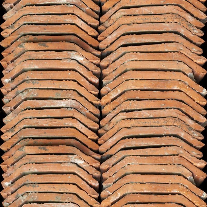 Bezszwowa fotografii tekstura sterta Holenderska dachowa płytka obrazy stock