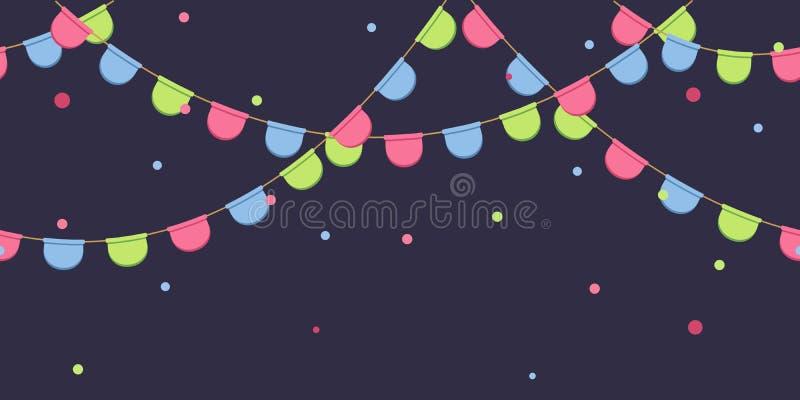 Bezszwowa girlanda z świętowanie flaga przykuwa, różowi, błękit, zieleni pennons z confetti na ciemnym tle, stopka i sztandar dla royalty ilustracja