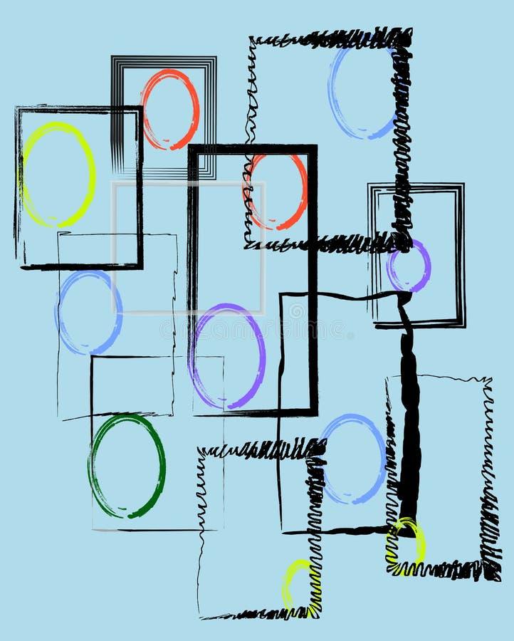 Bezszwowa grafika z ramami i okręgami zdjęcie royalty free