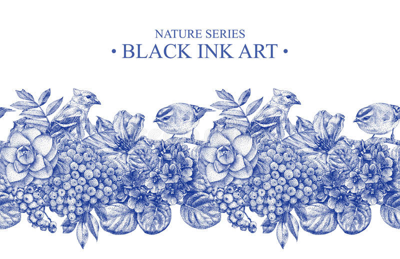 Bezszwowa granica z różnymi kwiatami, ptakami i roślinami, ilustracji