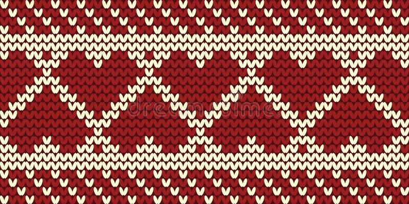 Bezszwowa granica z sercami Trykotowy wzór na czerwonym tle royalty ilustracja
