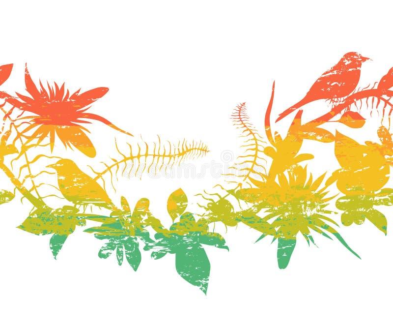 Bezszwowa granica z tropikalnymi ptakami, roślinami i kwiatami, Kolorowe grunge sylwetki z pluśnięciami w akwareli projektują ilustracji