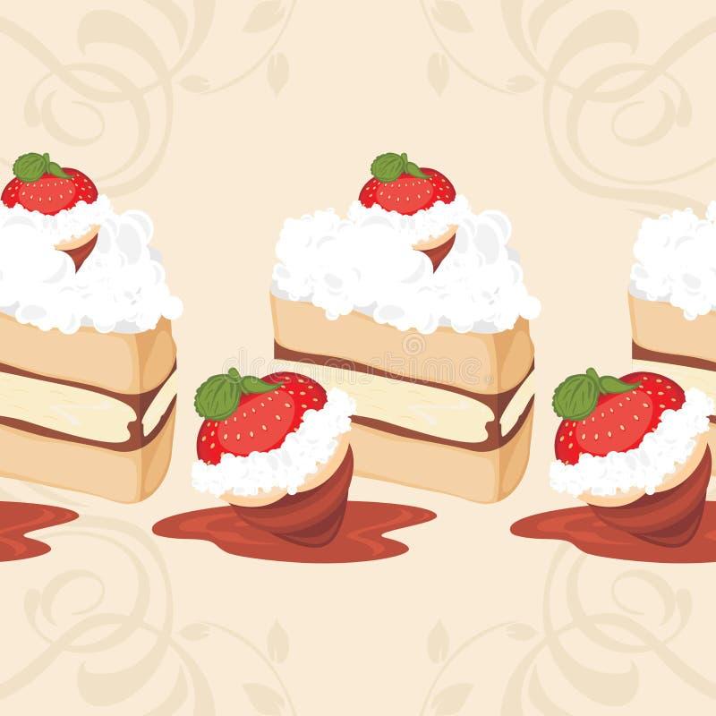 Bezszwowa granica z truskawka tortem royalty ilustracja