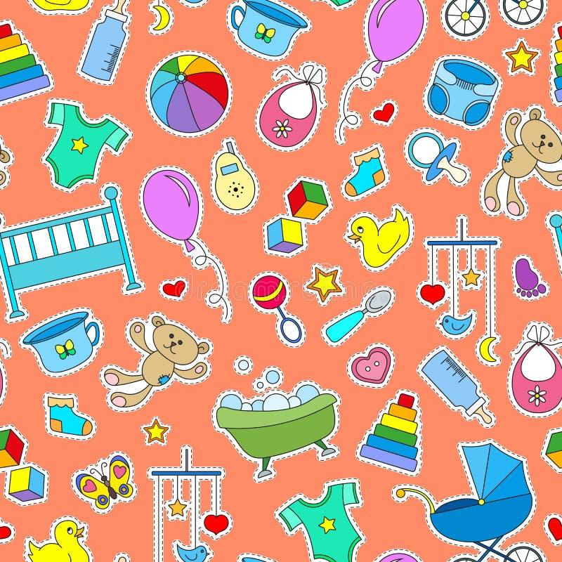 Bezszwowa ilustracja na temacie dzieciństwo, nowonarodzeni dzieci, dzieci akcesoria i zabawki, prosty kolor łata ikony na Oran ilustracji