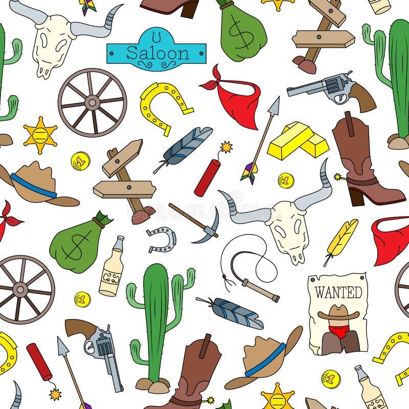 Bezszwowa ilustracja na temacie dzikie Zachodnie, barwione kreskówek ikony na białym tle, ilustracja wektor