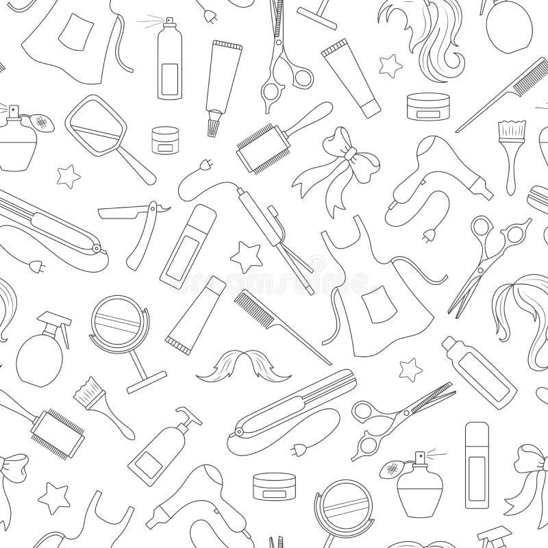 Bezszwowa ilustracja na temacie fryzjera męskiego sklep narzędzia i akcesoria fryzjer, proste konturowe ikony, czarne ilustracji