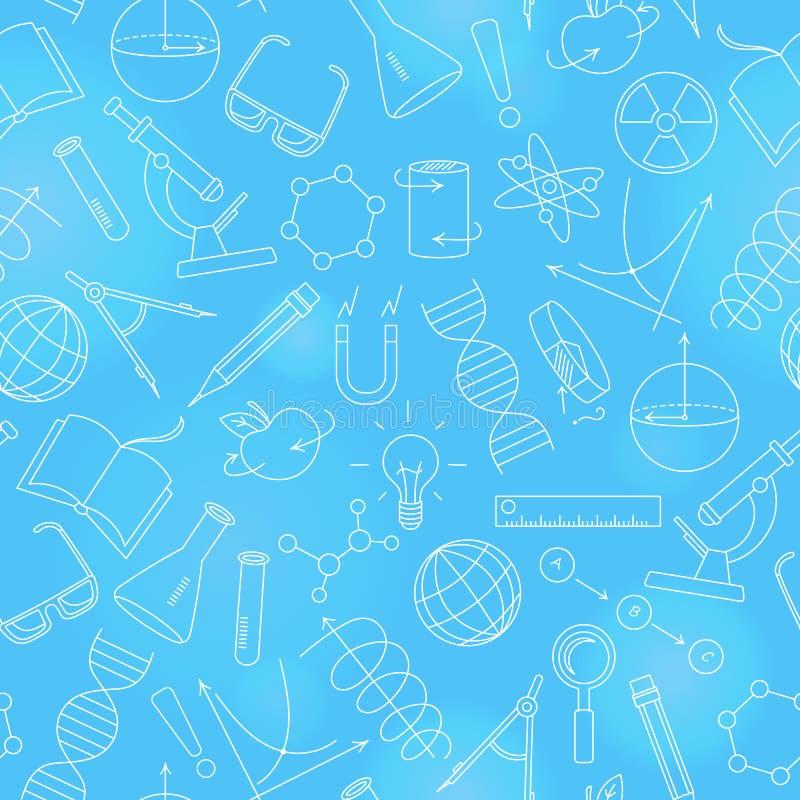 Bezszwowa ilustracja na temacie nauka i wymyślenia diagramy, mapy i wyposażenie, zaświeca konturowe ikony na błękita plecy ilustracja wektor