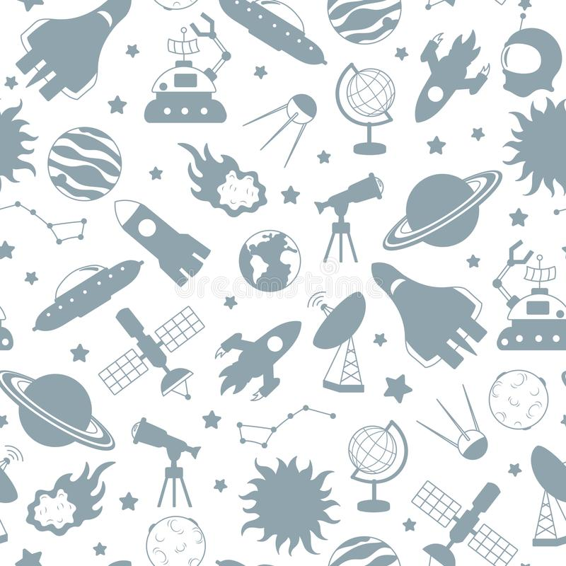 Bezszwowa ilustracja na temacie przestrzeń i podróż kosmiczna, popielate sylwetek ikony na białym tle ilustracji