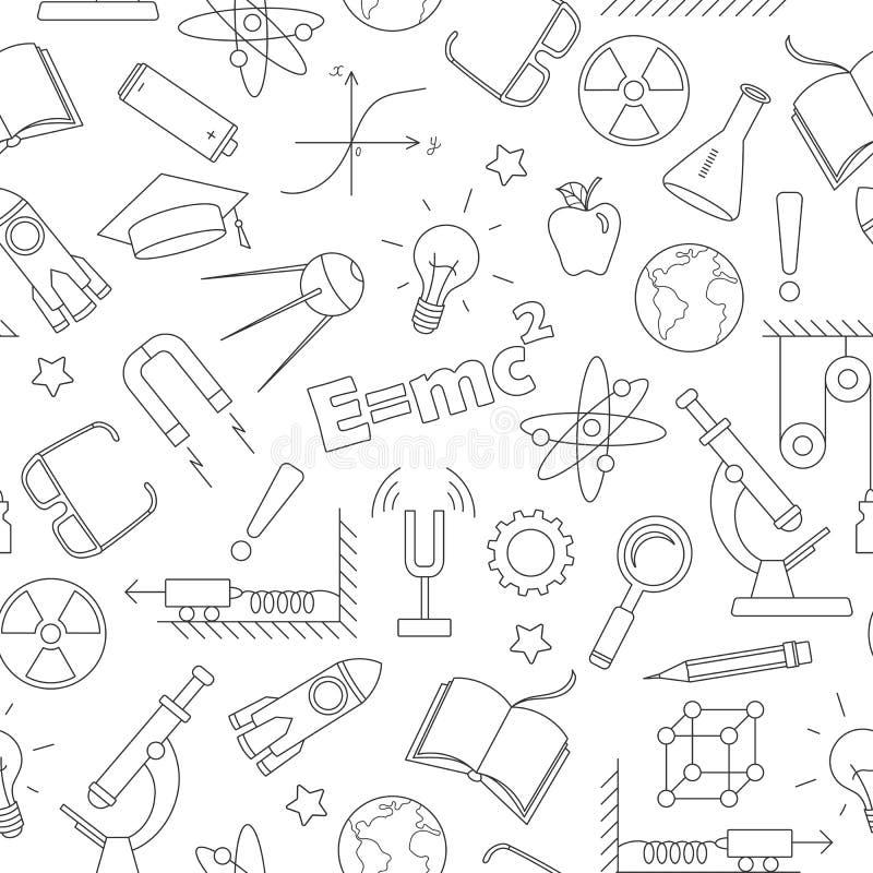 Bezszwowa ilustracja na temacie temat physics edukacja, proste zmroku konturu ikony na białym tle ilustracja wektor