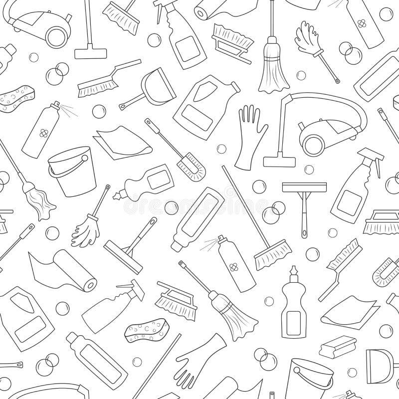 Bezszwowa ilustracja na temacie wyposażenie i cleaning produkty cleaning i gospodarstwa domowego, ciemny kontur na białym tle ilustracji