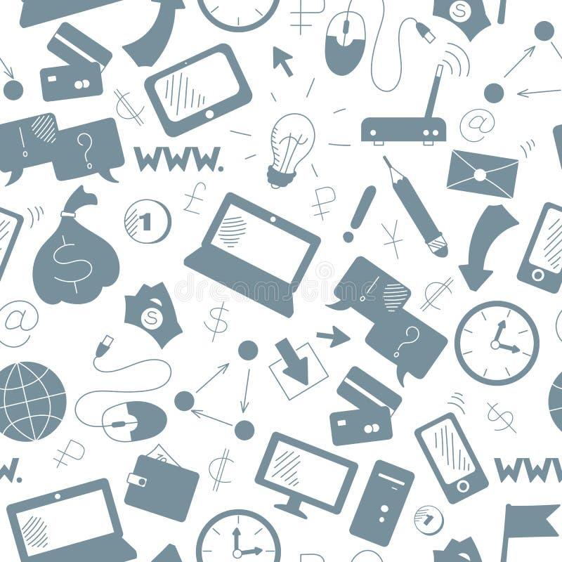 Bezszwowa ilustracja na tematu biznesie na internecie technologie informacyjne i, popielate sylwetki ikony na białym bac ilustracja wektor