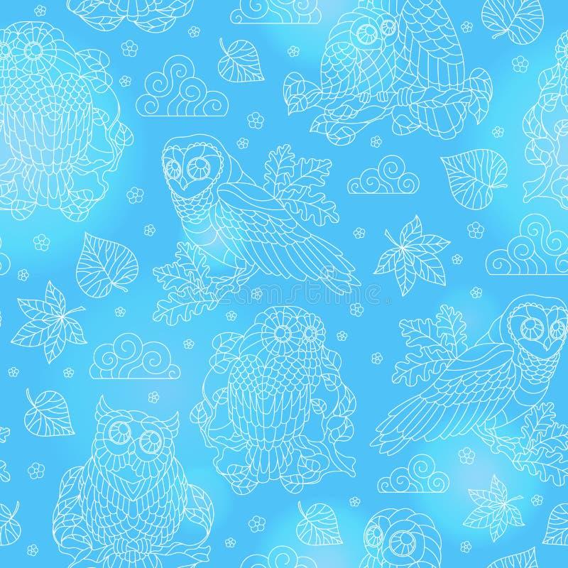 Bezszwowa ilustracja z abstrakcjonistycznymi sowami, liśćmi i kwiatami, lekka kontur ilustracja na błękitnym tle ilustracji