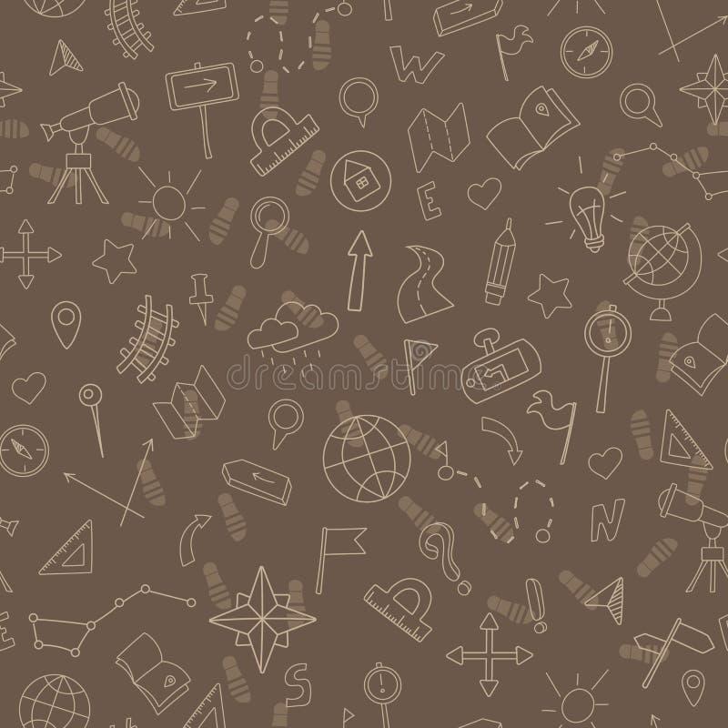 Bezszwowa ilustracja z ręką rysującą podpisuje na temacie geografia i podróży, beżowy kontur na brown tle royalty ilustracja