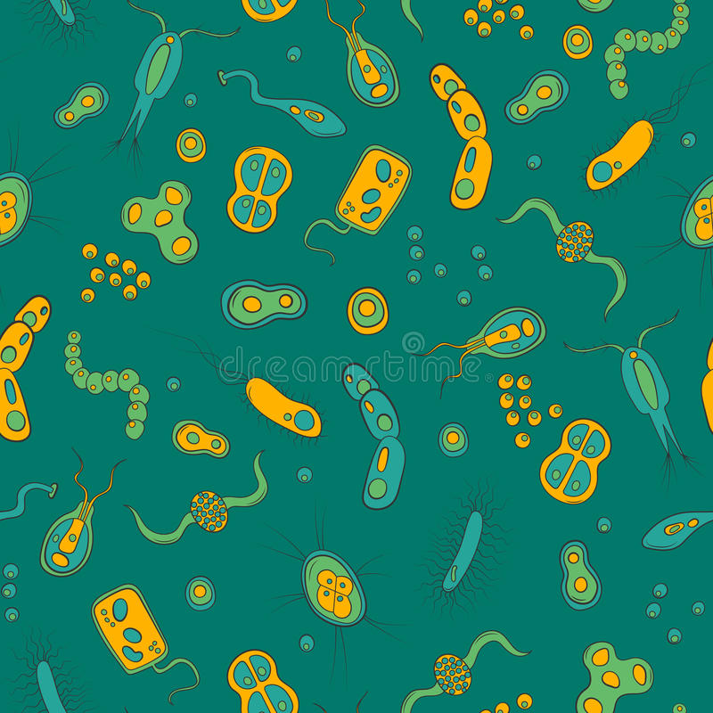 Bezszwowa ilustracja z wizerunkami bakterie, zarazki i wirusy na zielonym tle, royalty ilustracja