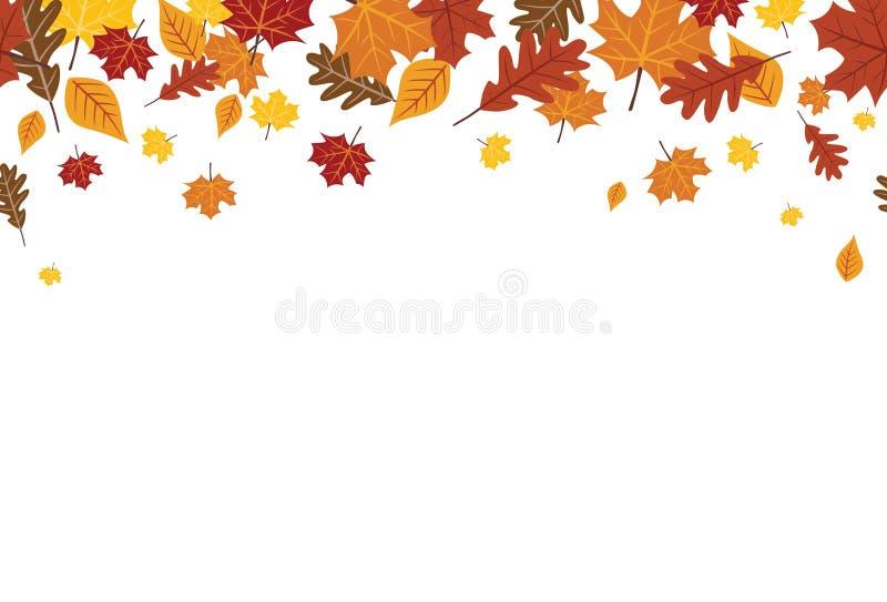 Bezszwowa Jaskrawa spadek jesieni liści granica 1 royalty ilustracja