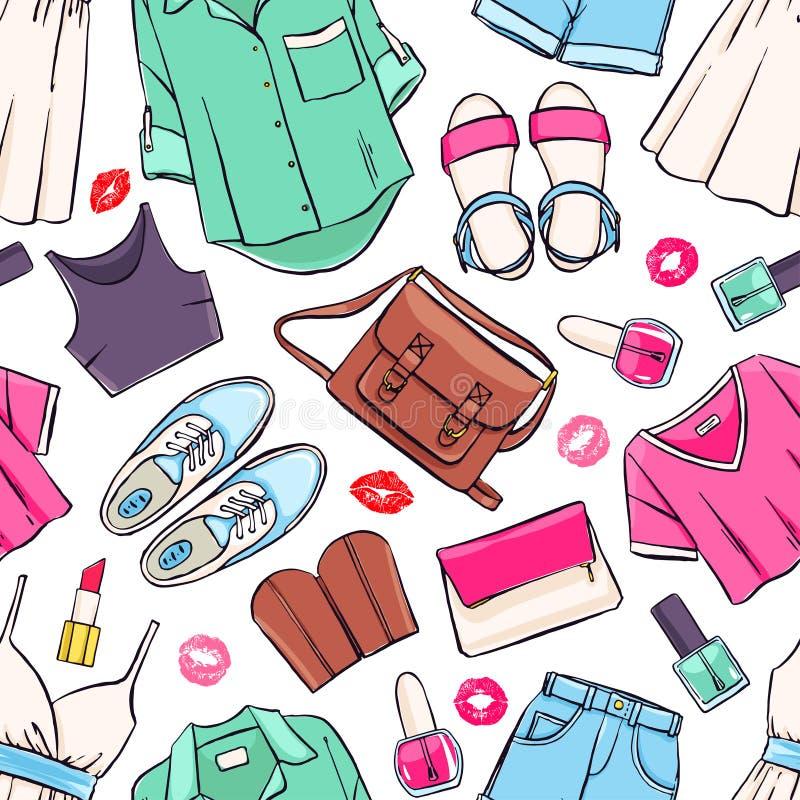 Bezszwowa lato odzież royalty ilustracja