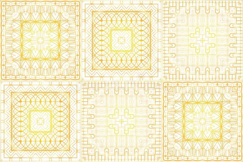 Bezszwowa luksusowa złocista rocznik tekstura w retro art deco stylu Złoty wzór na białym tle ilustracji