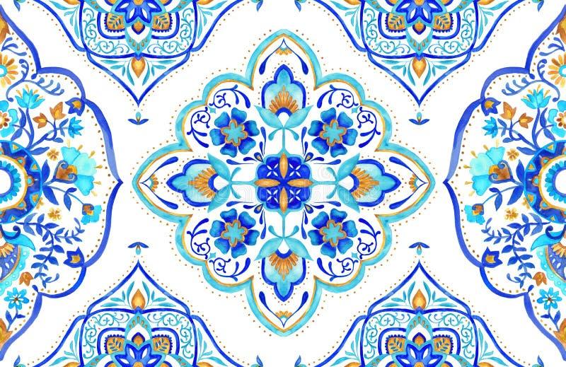 Bezszwowa Marokańska motyw płytka aqua, turkus i złoto -, ilustracji