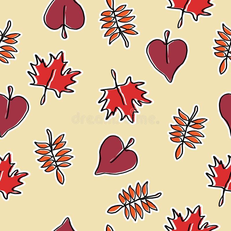 Bezszwowa modna ręka rysujący jesień stylu wzór z gorącym koloru tłem gotowym dla druku royalty ilustracja