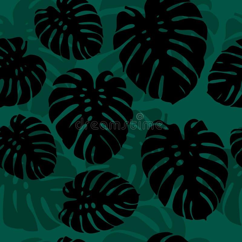 Bezszwowa monstera palma opuszcza sylwetka wzór ilustracja wektor