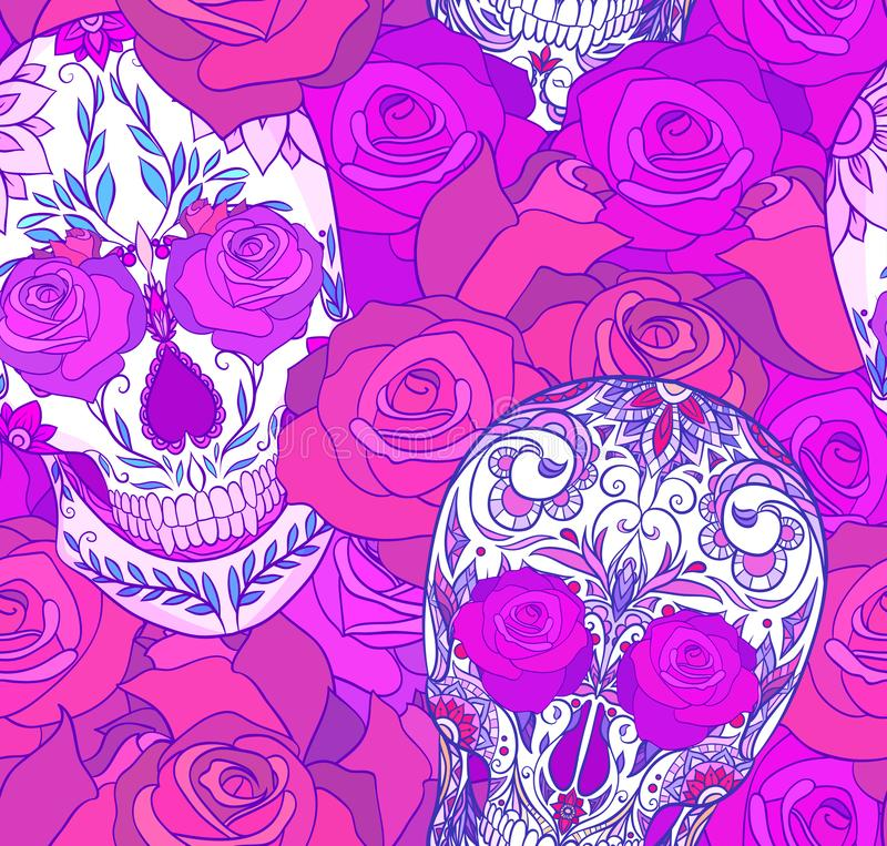 Bezszwowa neonowa tekstura z cukrowymi czaszkami i różami Dzień nieboszczyk wzoru świąteczny wektor ilustracji