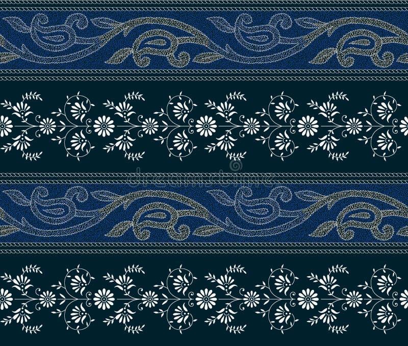 Bezszwowa Paisley granica z kwiecistym rabatowym tłem royalty ilustracja