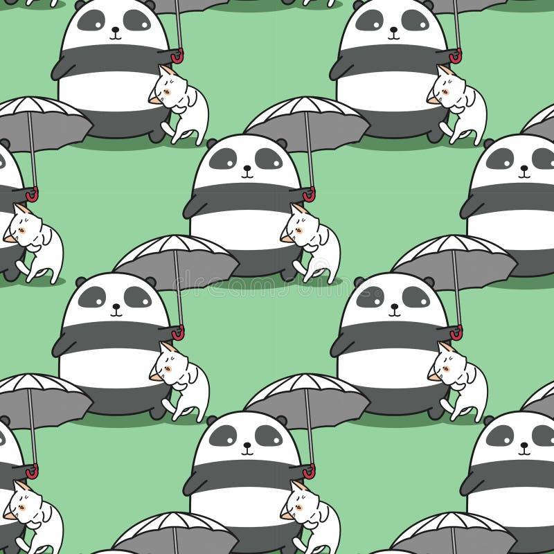 Bezszwowa panda niesie parasol z kota wzorem ilustracji