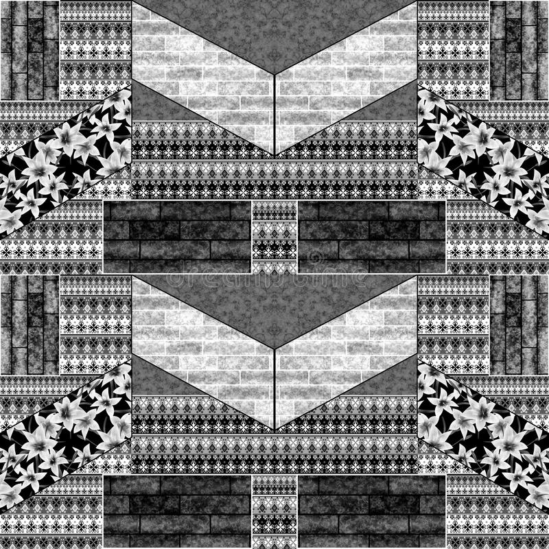 Bezszwowa patchwork kołderka łata elementu rocznika grunge retro deseniowego monochrom ilustracja wektor