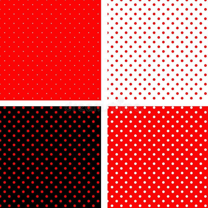 bezszwowa pois czarny deseniowa czerwień royalty ilustracja