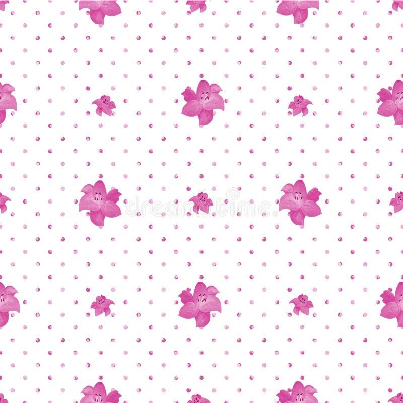 Bezszwowa polki kropki tekstura z leluja kwiatami Bia?y t?o ilustracji