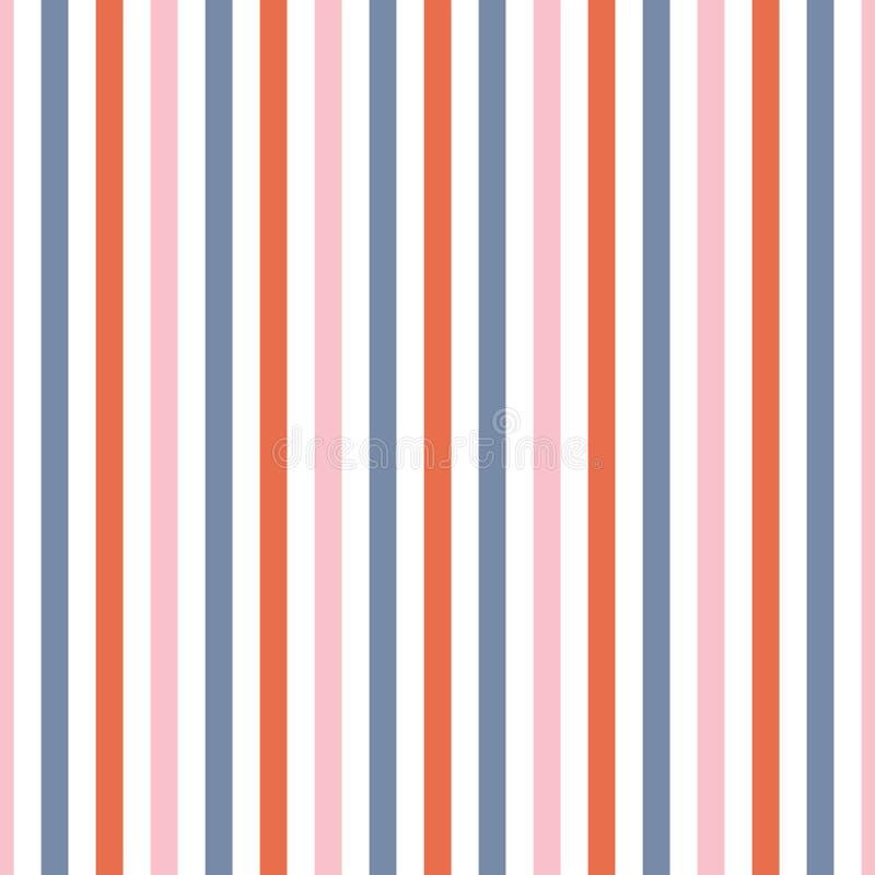 Bezszwowa powtórka lampasy w błękitnym, różowy i pomarańczowy, Nowożytny wektorowy geometrycznego projekta tła ideał dla tkaniny royalty ilustracja