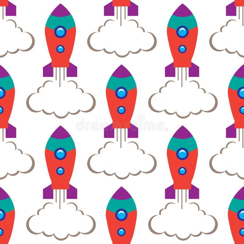 Bezszwowa powtórka wzoru dzieci ` s astronautyczna rakieta na białym tle, wektorowa ilustracja ilustracji