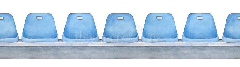 Bezszwowa powtarzalna linia mlecznoniebiescy puste siedzenia na szarej platformie royalty ilustracja