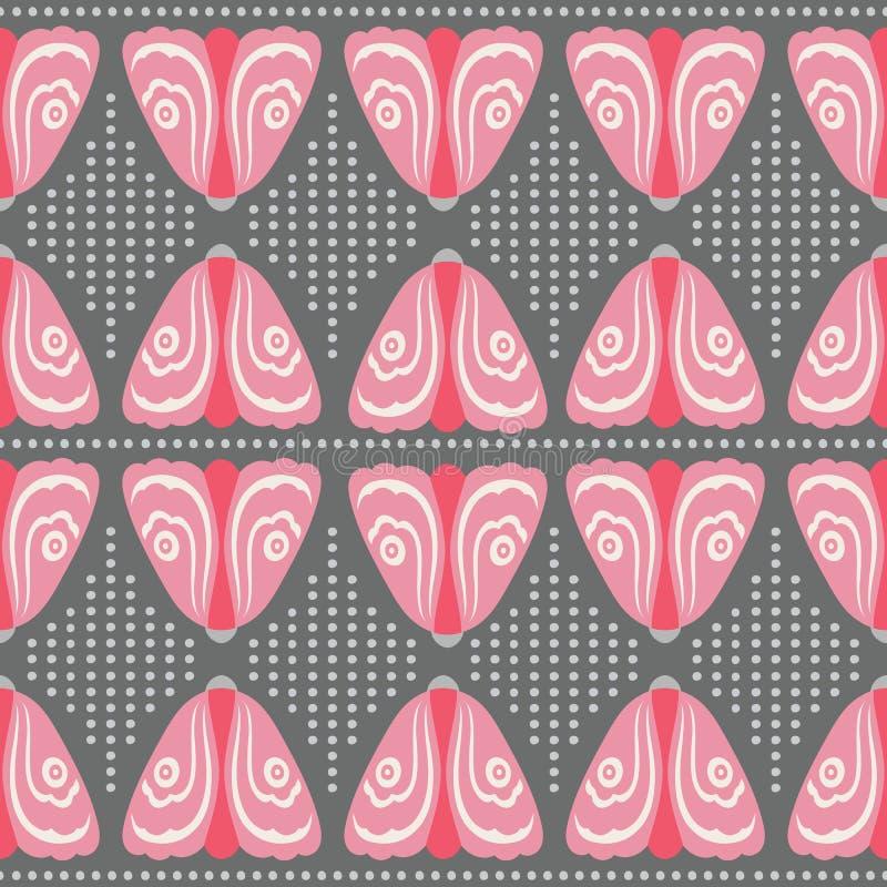 Bezszwowa różowa ćma i kropki powtórka deseniuje tło Dekoracyjny geometryczny wektorowy projekt ilustracji