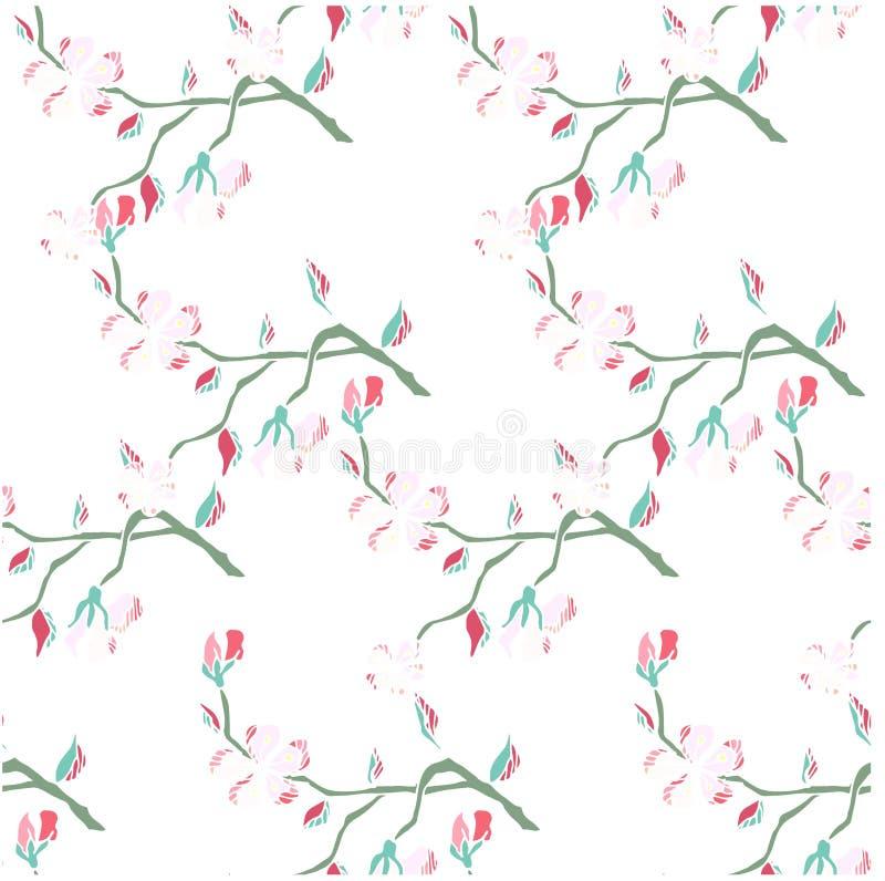 Bezszwowa ręka rysująca deseniowa Sakura kwitnienia gałąź na bielu zapasu wektoru ilustraci ilustracji