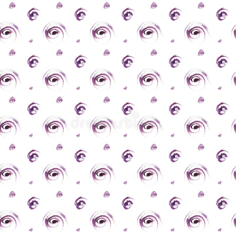 Bezszwowa ręka rysujący akwareli kropek purpurowy wzór ilustracji