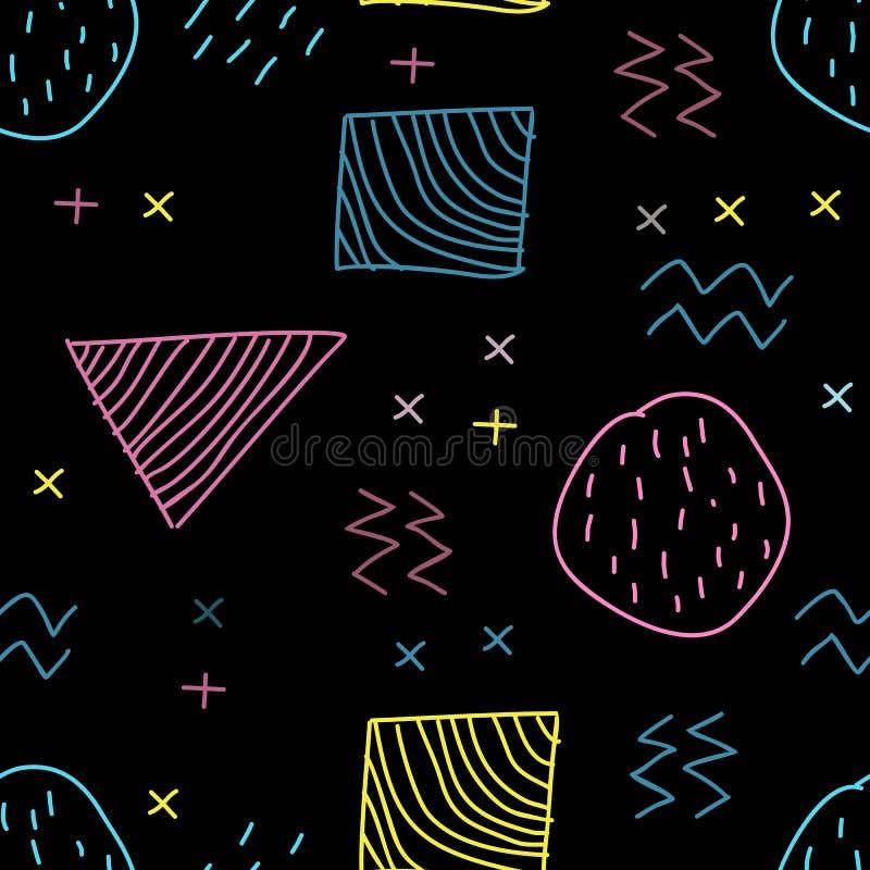 Bezszwowa ręka rysujący Memphis modny modniś 80s, 90s Kreatywnie dzieci rysuje styl z ciemnym tłem ilustracja wektor