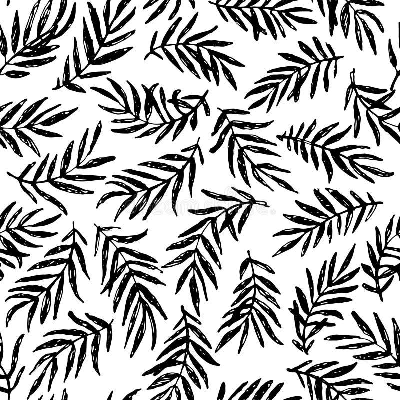 Bezszwowa ręka rysujący palmy gałąź wzoru projekt ilustracja wektor