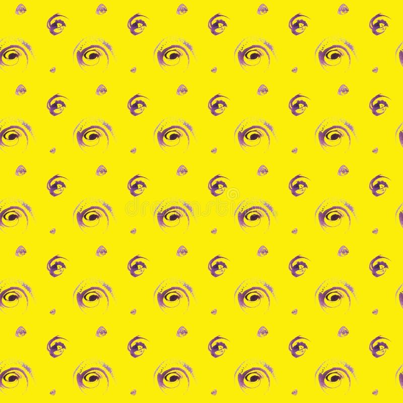 Bezszwowa ręka rysujący pięknej akwareli kropek purpurowy wzór ilustracja wektor