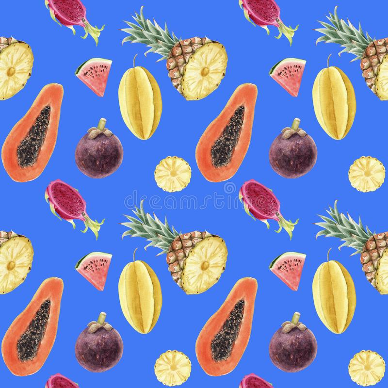 Bezszwowa ręka rysujący pięknej akwareli tropikalny wzór z soczystymi owoc royalty ilustracja