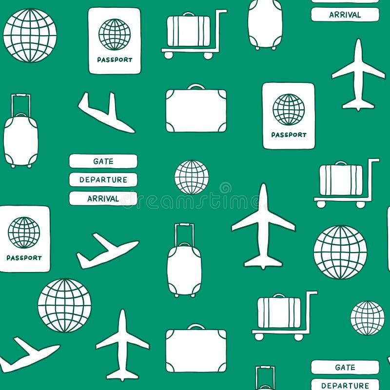 Bezszwowa ręka rysujący tło na lotniskowym temacie ilustracja wektor