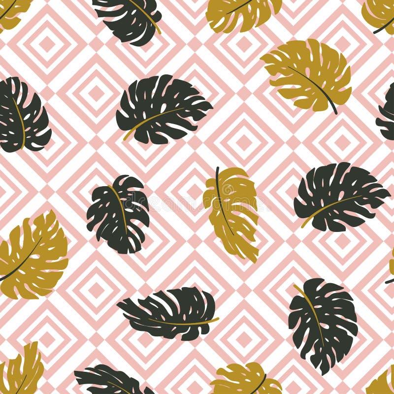 Bezszwowa ręka rysujący tropikalny wzór Wektorowy tło z monstera rhombus i liśćmi royalty ilustracja