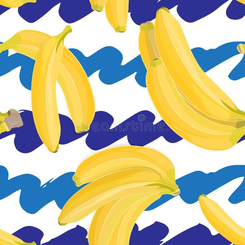 Bezszwowa ręka rysujący tropikalny wzór z bananową owoc na białym i błękitnym tle royalty ilustracja