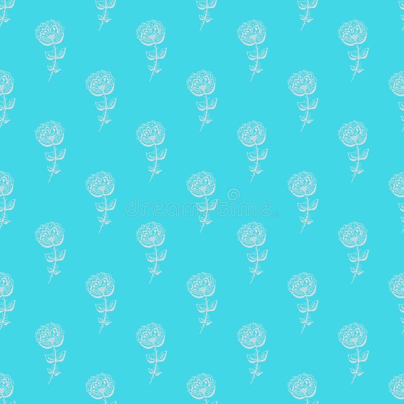Bezszwowa ręka rysujący wzór abstrakt wzrastał kwiaty odizolowywających na błękitnym tle kwiecisty wektor ilustracyjny Śliczny do royalty ilustracja