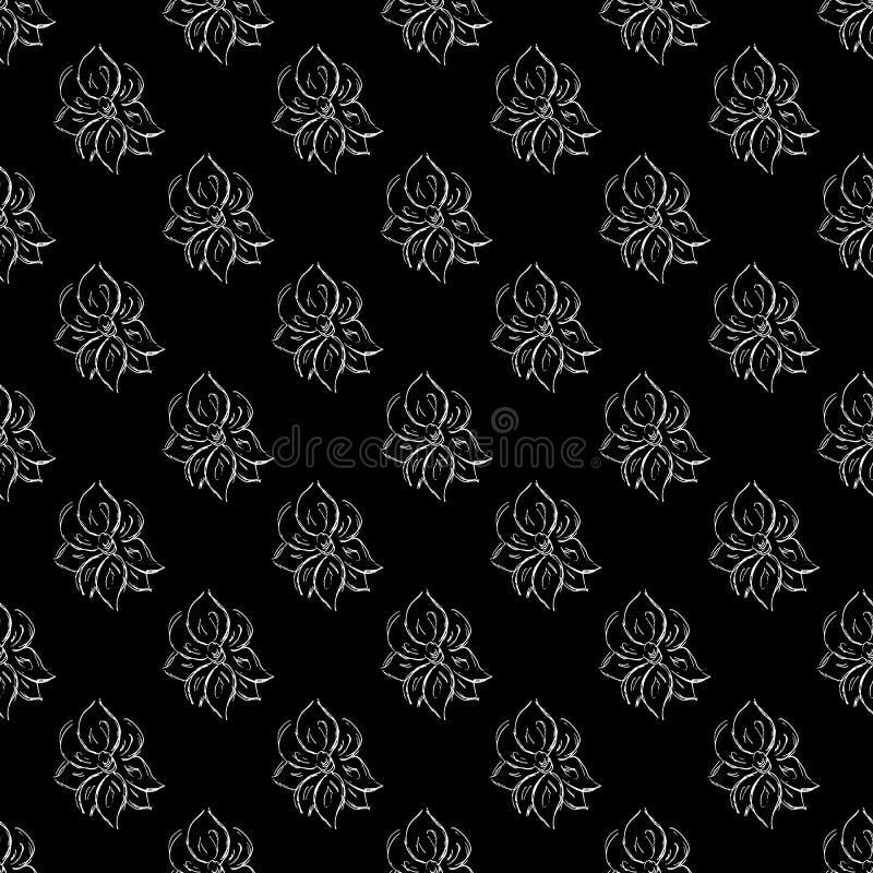 Bezszwowa ręka rysujący wzór abstrakt wzrastał kwiaty odizolowywających na czarnym tle kwiecisty wektor ilustracyjny Kontur kwiec ilustracja wektor