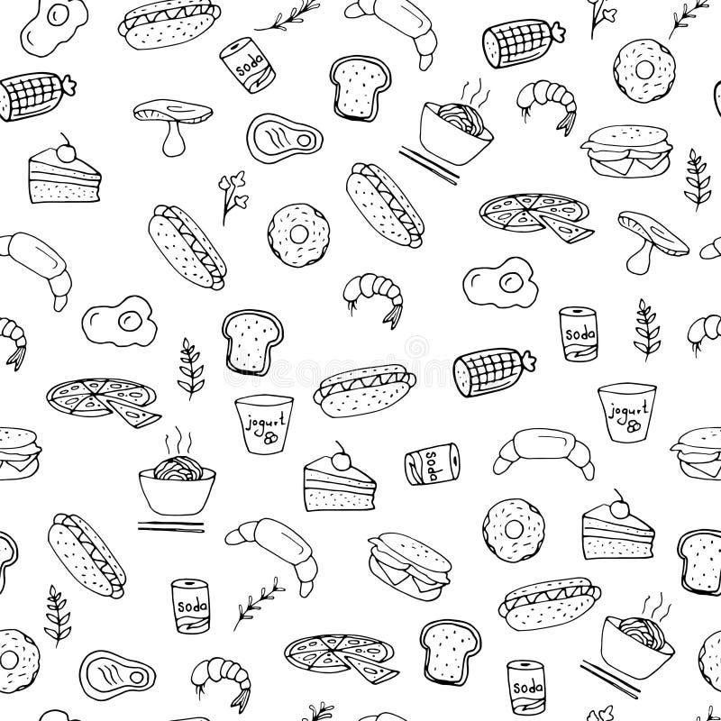 Bezszwowa ręka rysujący wzór fast food rzeczy i symbole, hamburger, pizza, napoje, dłoniaki, ilustracja royalty ilustracja
