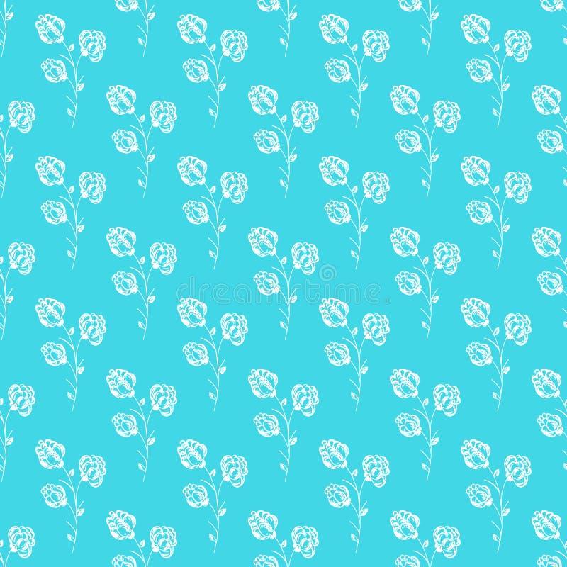 Bezszwowa ręka rysujący wzór odizolowywający abstrakcjonistyczna czernica na błękitnym tle kwiecisty wektor ilustracyjny Śliczny  ilustracji