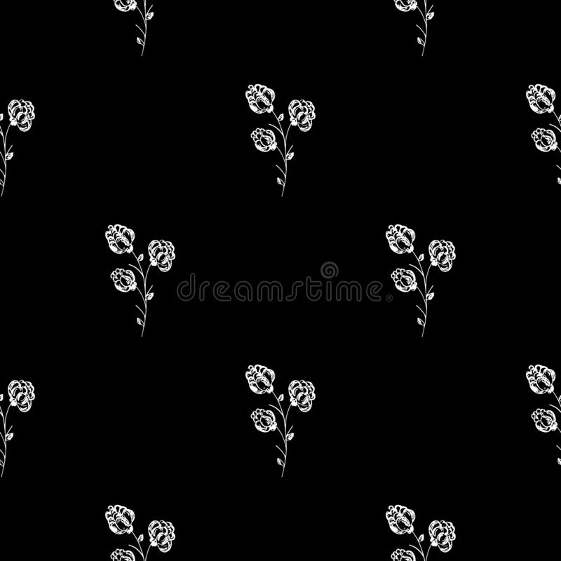 Bezszwowa ręka rysujący wzór odizolowywający abstrakcjonistyczna czernica na czarnym tle kwiecisty wektor ilustracyjny Śliczny do ilustracja wektor